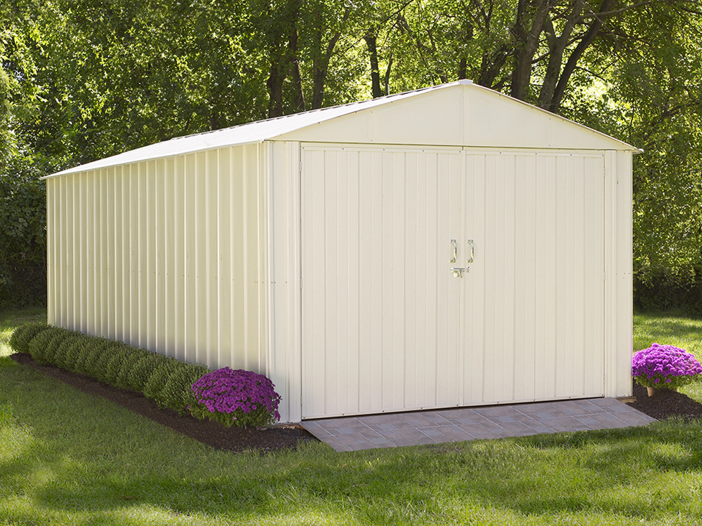 """Commander, 10x20, Hot Dipped Galvanized Steel, Eggshell, High Gable, 71.3"""" Wall Height, Extra Wide Swing Doors"""