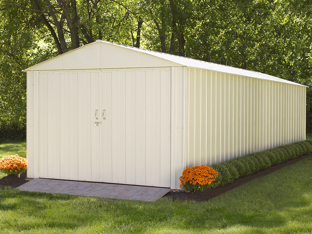 "Commander, 10x25, Hot Dipped Galvanized Steel, Eggshell, High Gable, 71.3"" Wall Height, Extra Wide Swing Doors"