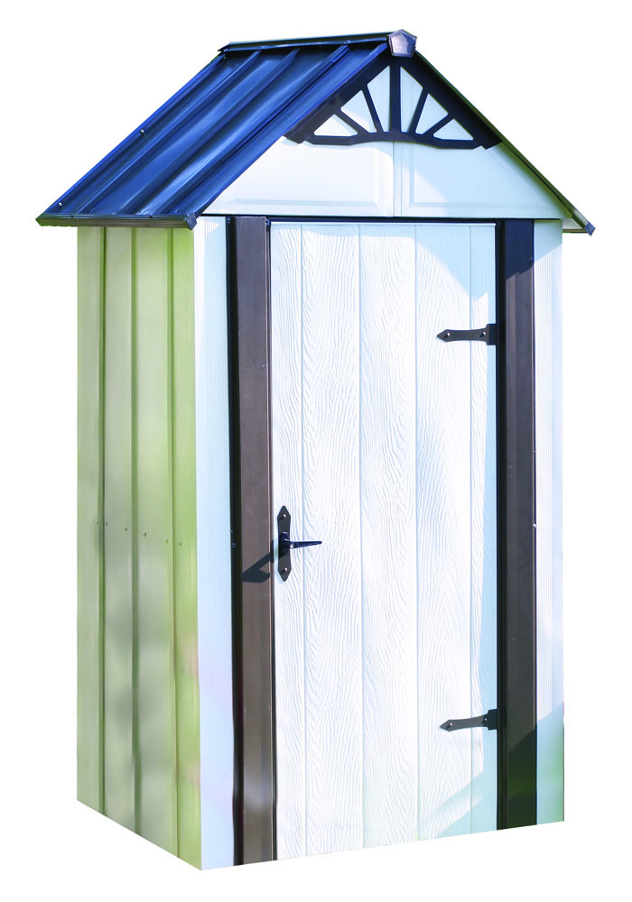 "Arrow Shed - Designer+ Metro Shed, 4X2, Hot Dipped Galvanized Steel, Java / Sand, High Gable, 71.3"" Wall Height, Swing Doors"