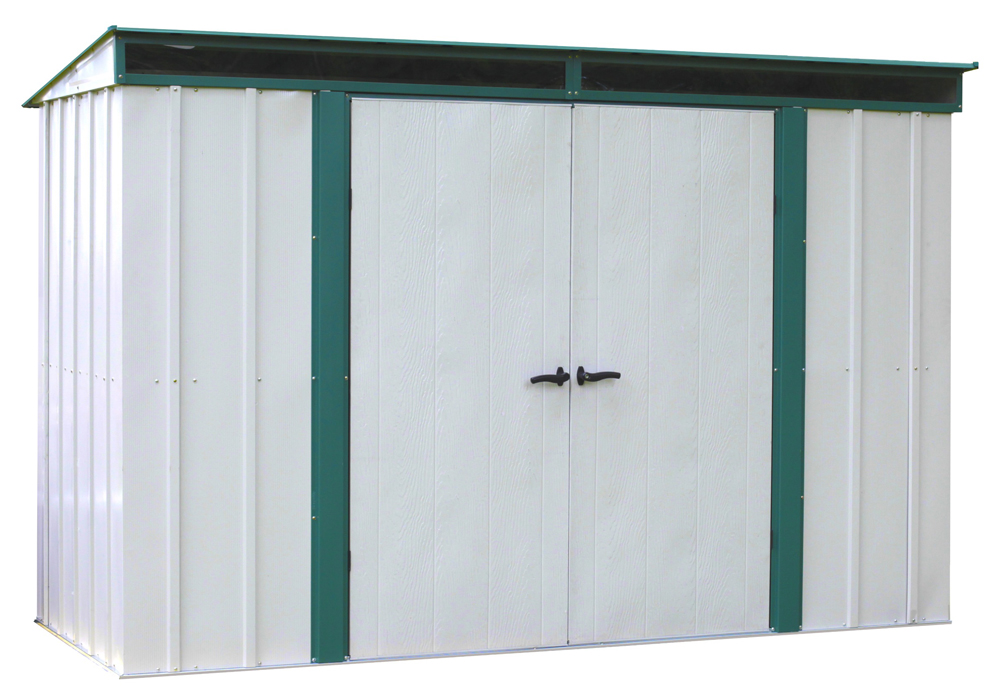 "Arrow Shed - Euro-Lite+, 10x4, Hot Dipped Galvanized Steel, Meadow Green / Eggshell, Pent Gable, 71.3"" Wall Height, Swing Doors"