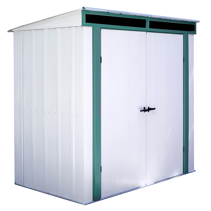 "Arrow Shed - Euro-Lite+, 6x4, Hot Dipped Galvanized Steel, Meadow Green / Eggshell, Pent Gable, 71.3"" Wall Height, Swing Doors"