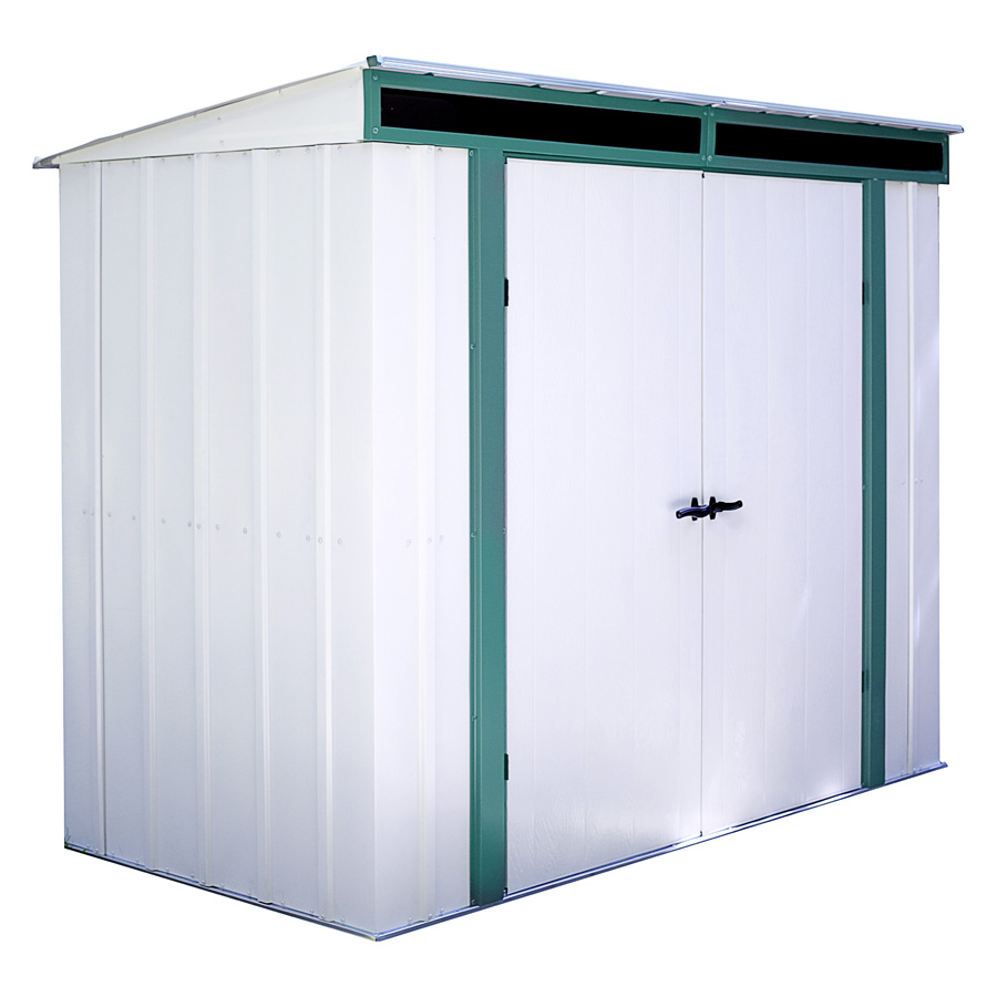 "Arrow Shed - Euro-Lite+, 8x4, Hot Dipped Galvanized Steel, Meadow Green / Eggshell, Pent Gable, 71.3"" Wall Height, Swing Doors"