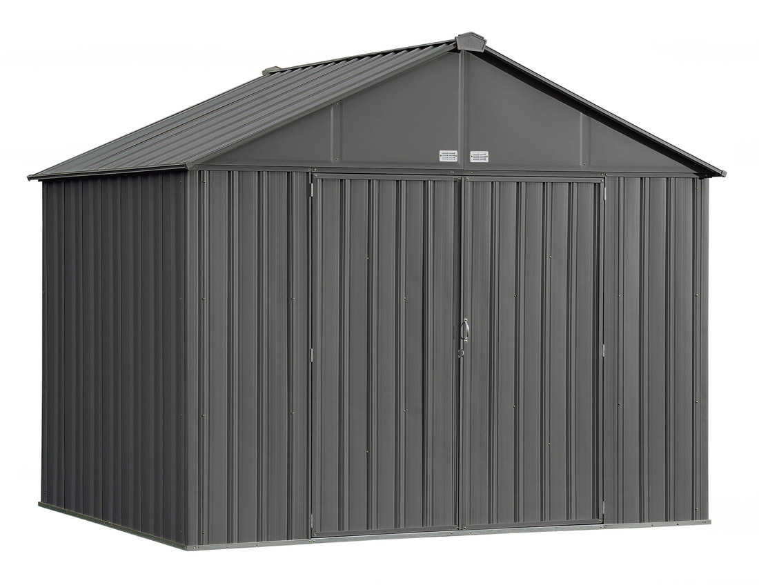 EZEE Shed , 10x8, Extra High Gable, 72 in walls, vents, Charcoal