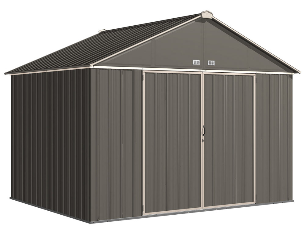 EZEE Shed , 10x8, Extra High Gable, 72 in walls, vents, Charcoal & Cream