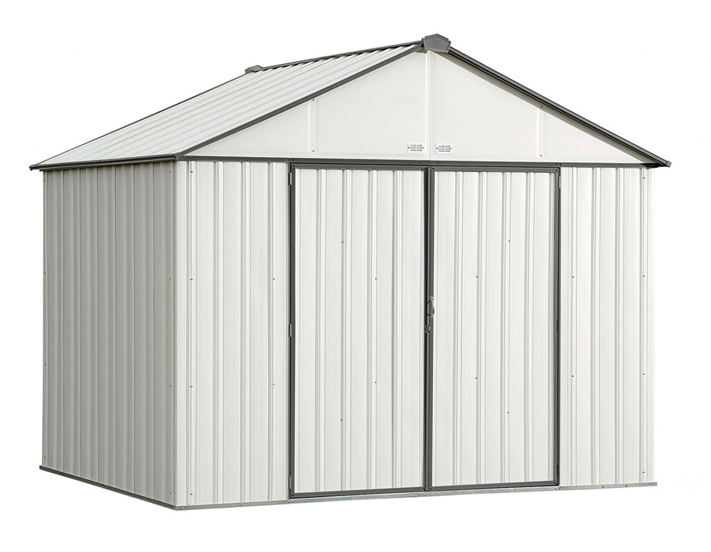 EZEE Shed , 10x8, Extra High Gable, 72 in walls, vents, Cream & Charcoal