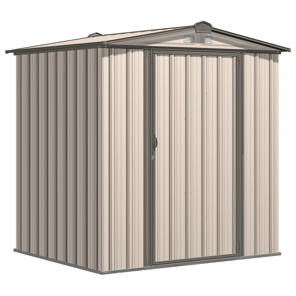 EZEE Shed Steel Storage 6 x 5 ft. Galvanized Low Gable Cream with Charcoal Trim