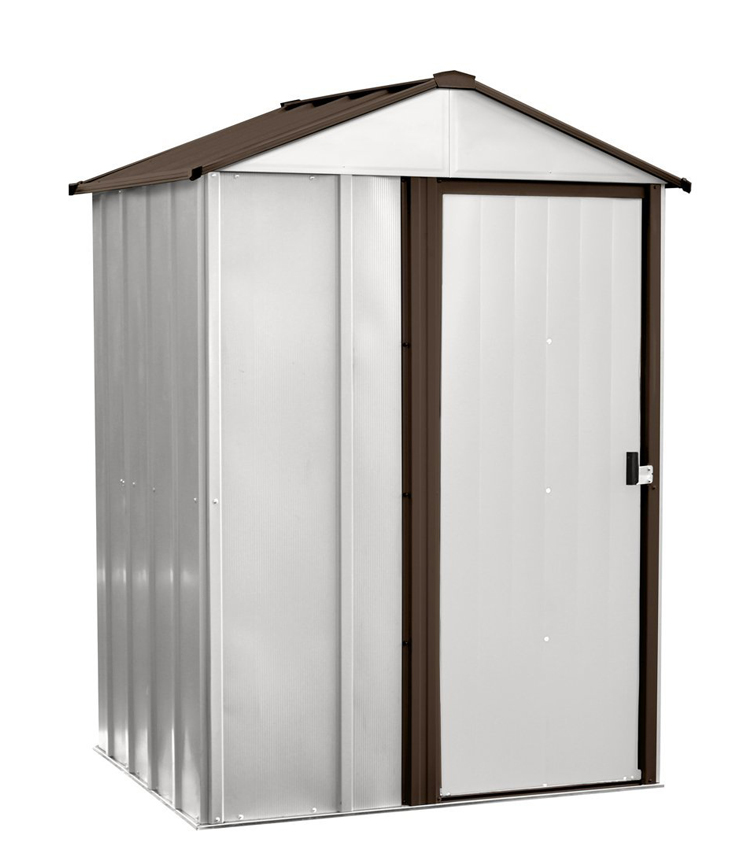 "Arrow Shed - Newburgh Shed, 5x4, Electro Galvanized Steel, Coffee / Eggshell, Low Gable, 67"" Wall Height, Sliding Doors"