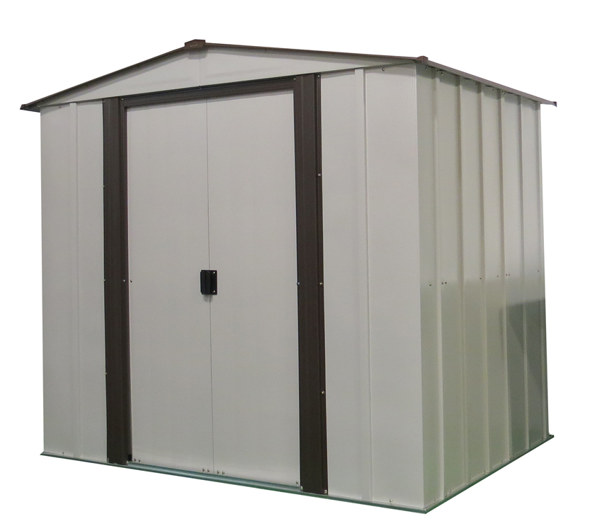 "Arrow Shed - Newburgh Shed, 6x5, Electro Galvanized Steel, Coffee / Eggshell, Low Gable, 60"" Wall Height, Sliding Doors"