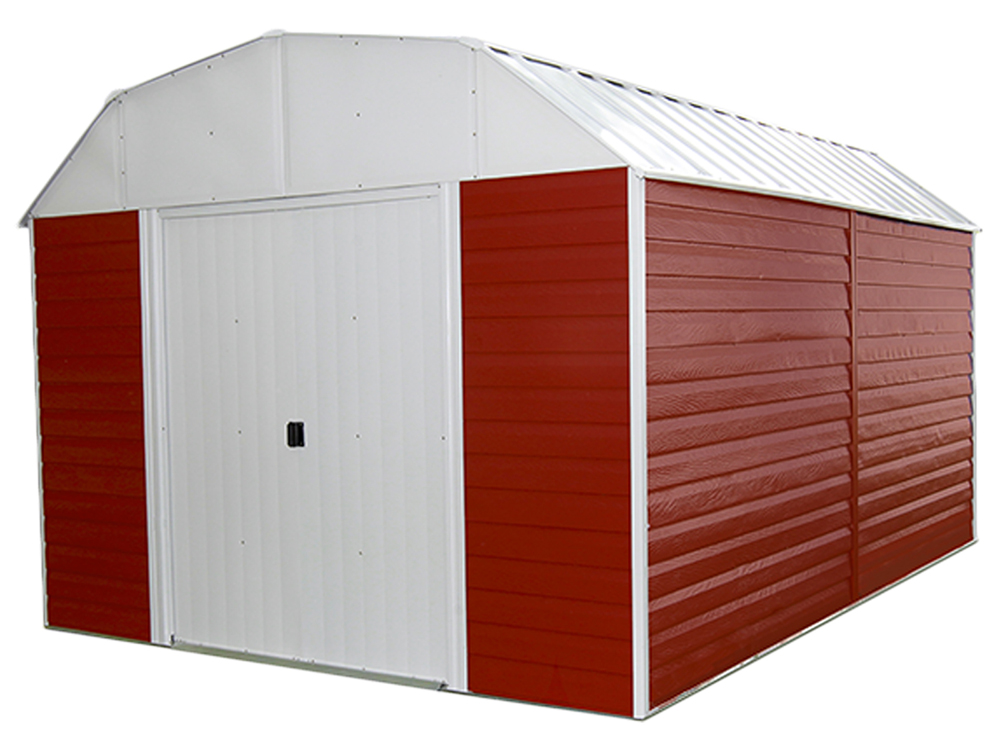 "Red Barn, 10x14, Electro Galvanized Steel, Red / Eggshell, Gambrel Gable, 71.3"" Wall Height, Sliding Doors"