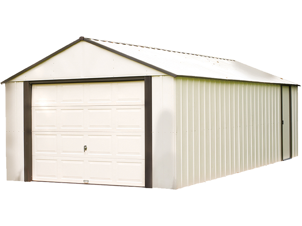 "Murrayhill, 12x10, Vinyl Coated Steel, Coffee / Almond, High Gable, 73.8"" Wall Height, Roll-up Garage Door"