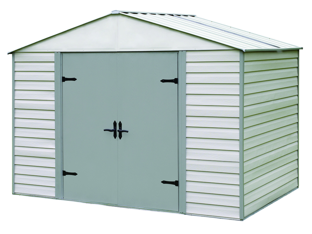 "Arrow Shed - Viking+, 10x7, Vinyl Coated Steel, Stoney / Creamy Vanilla, High Gable, 71.3"" Wall Height, Swing Doors"