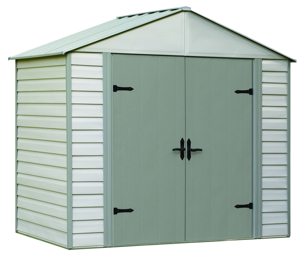 "Arrow Shed - Viking+, 8x5, Vinyl Coated Steel, Stoney / Creamy Vanilla, High Gable, 71.3"" Wall Height, Swing Doors"