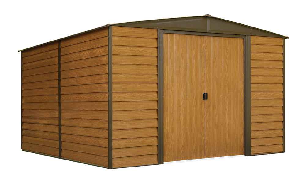 "Arrow Shed - Woodridge,10x12, Electro Galvanized Steel, Coffee / Woodgrain, Low Gable, 71.3"" Wall Height, Sliding Doors"
