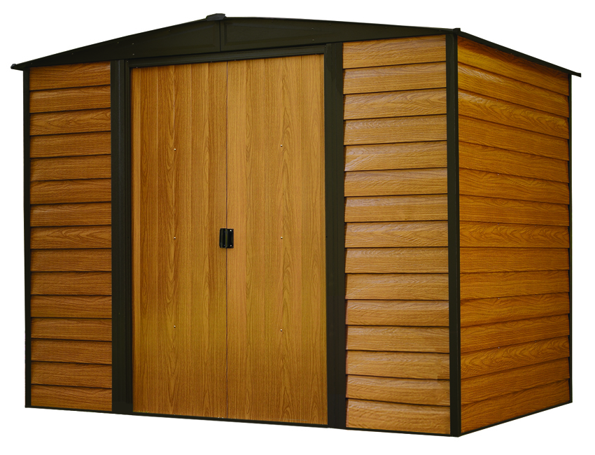 "Arrow Shed - Woodridge, 8x6, Electro Galvanized Steel, Coffee / Woodgrain, Low Gable, 71.3"" Wall Height, Sliding Doors"