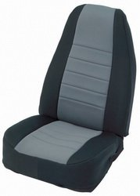 Gray on Black Custom Fit Neoprene Rear Seat Cover