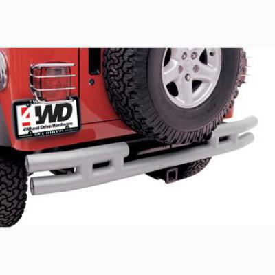 Smittybilt 3 Inch Rear Tube Bumper with Hitch in Stainless Steel JB44-RHS