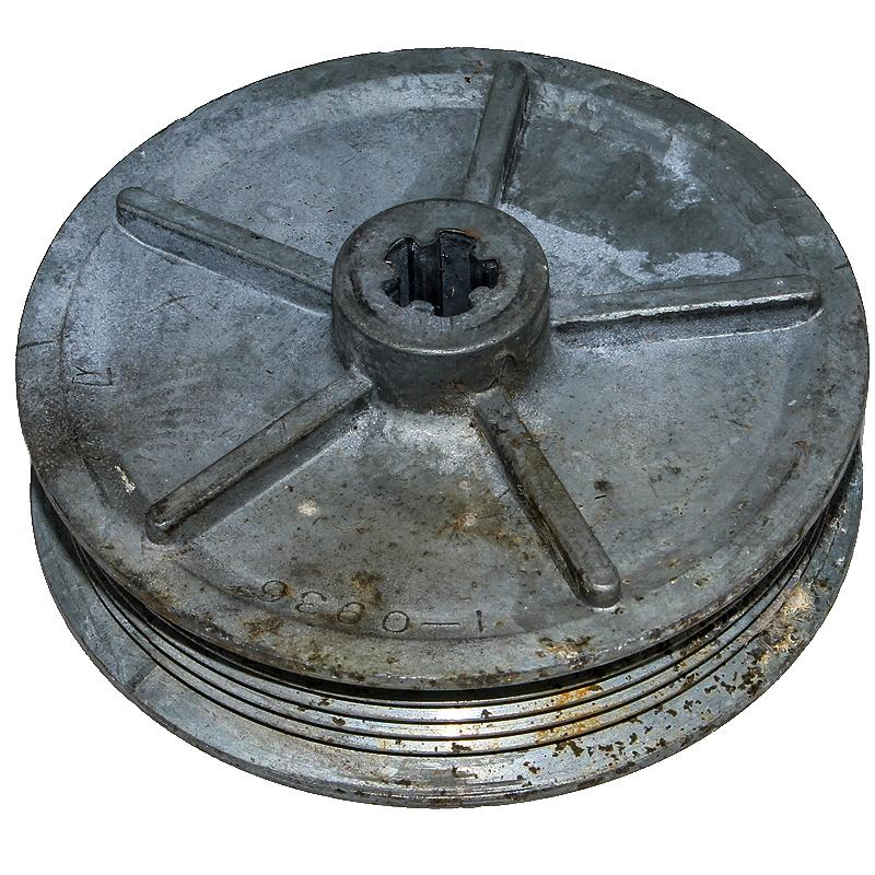 1-0936 Pulley 3-3/16 diameter overall 1-1/8 tall. takes a 6 rib serpentine belt w/ a 5/8 top width and 1/2 bottom width. 5 slot