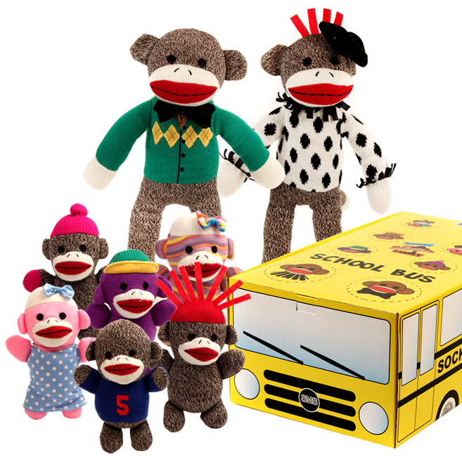 The Sock Monkey Family School Bus