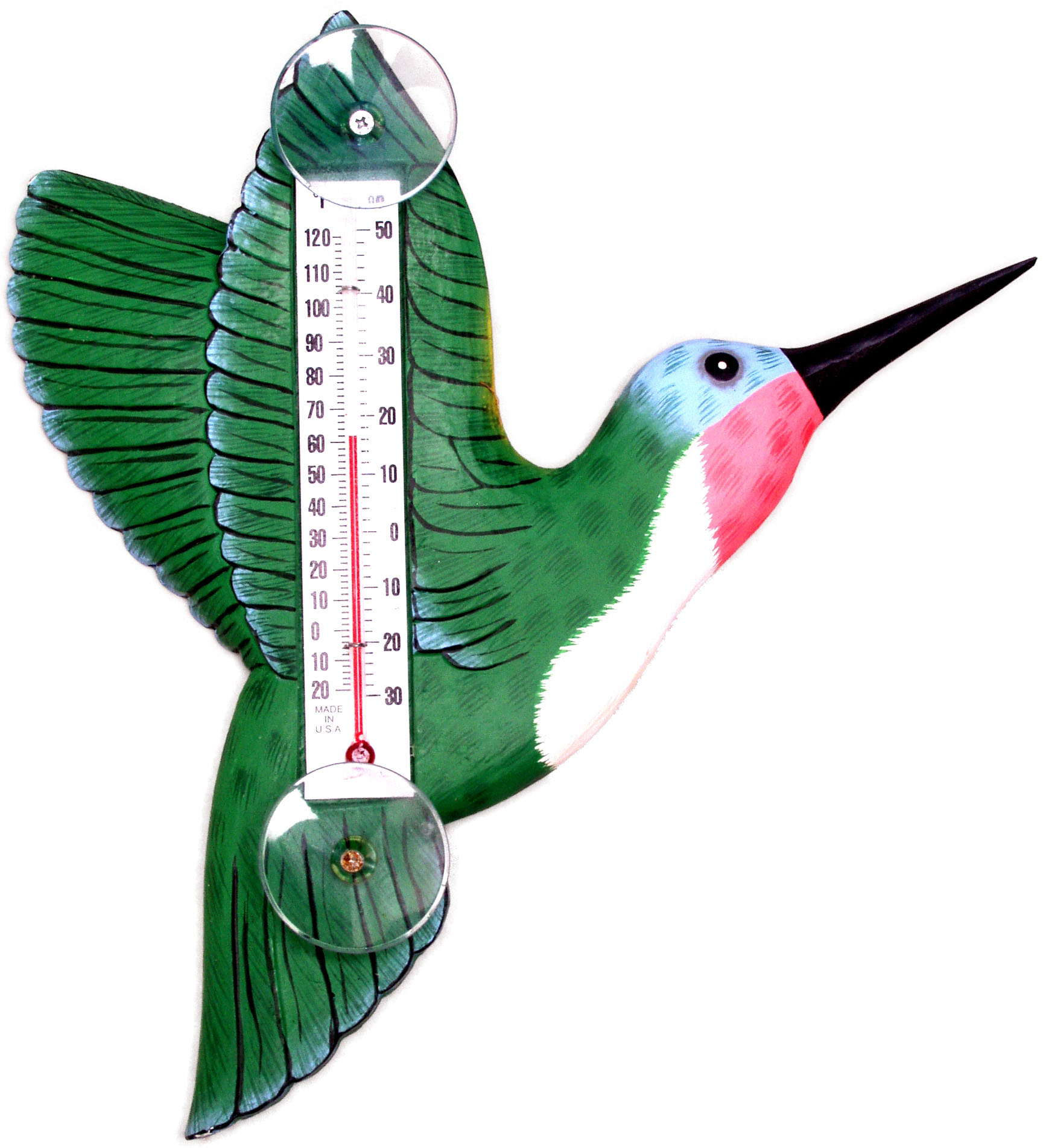 Green Hummingbird Small Window Thermometer