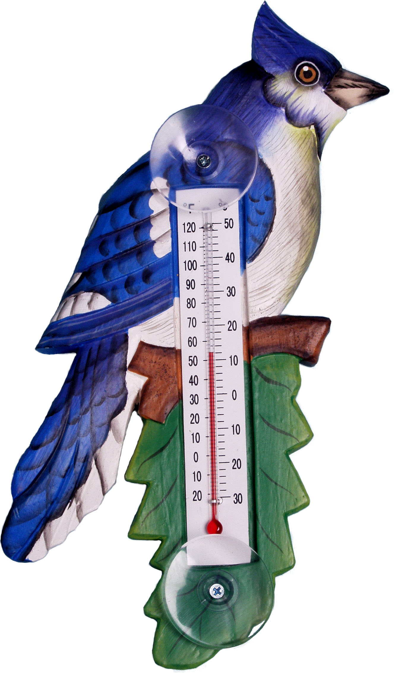 Blue Jay on Branch Small Window Thermometer