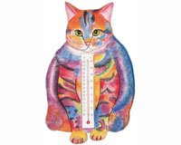 Thermometer Small Cat Fat Pstl Tabby