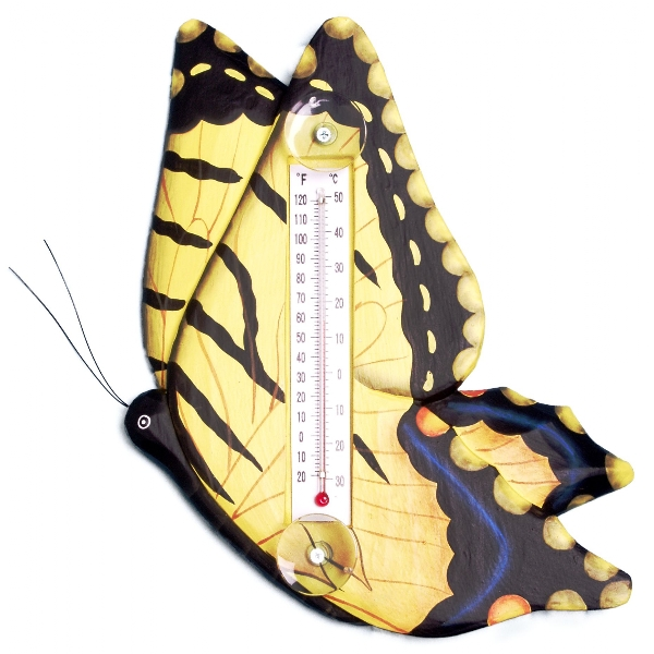 Yellow Swallowtailed Butterfly Small Window Thermometer