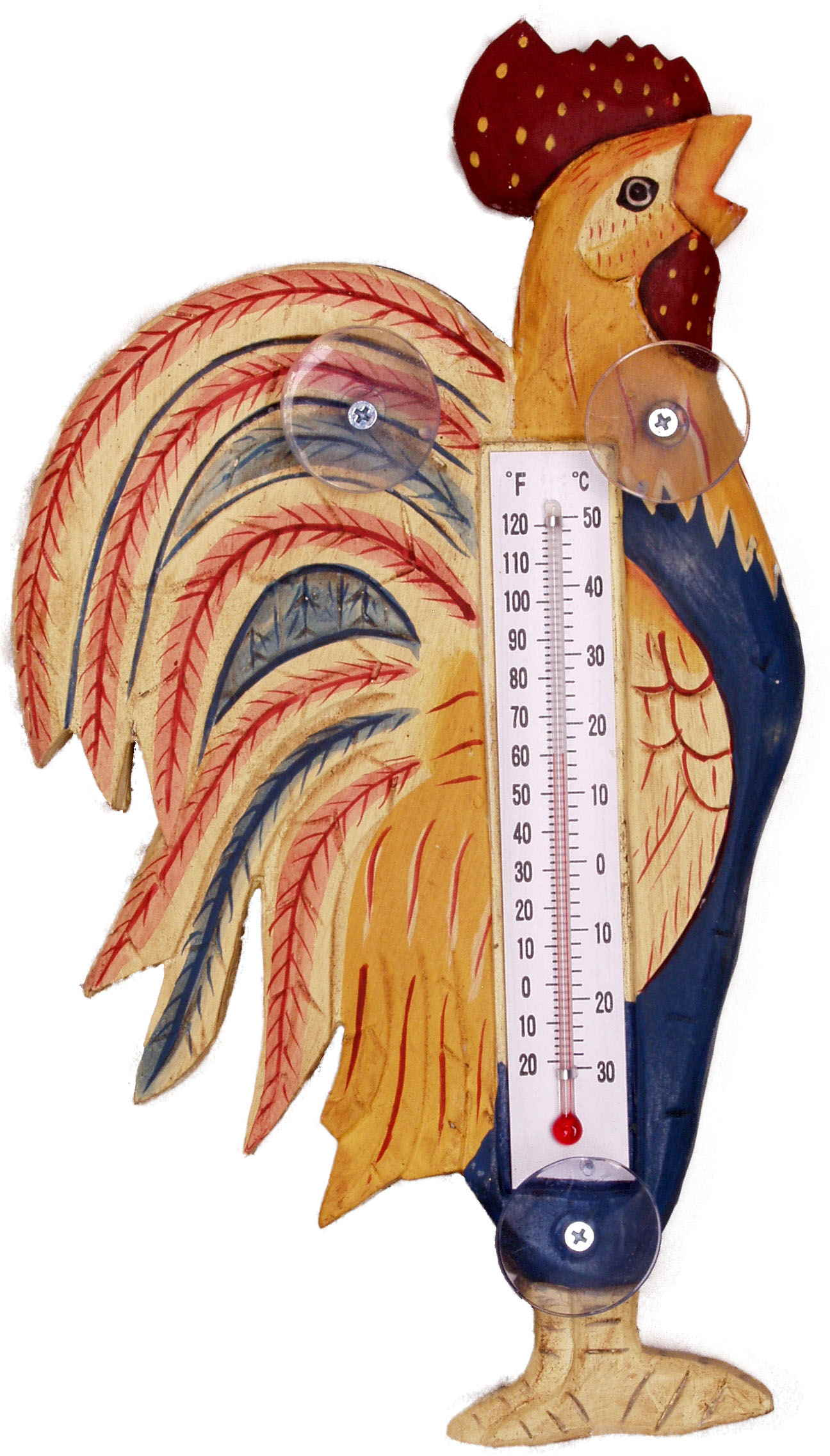 Country Rooster Small Window Thermometer