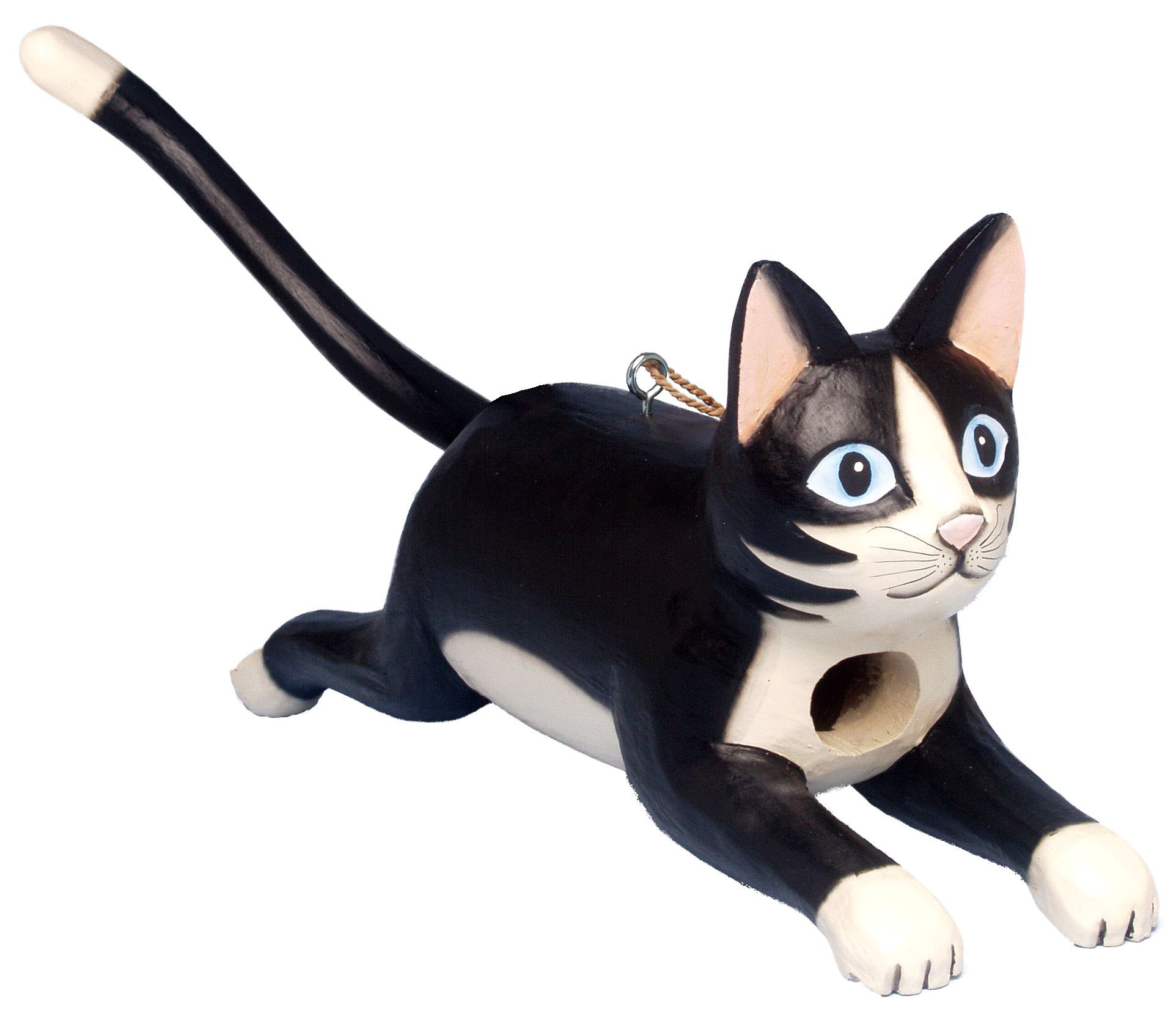 Leaping Black and White Cat Birdhouse