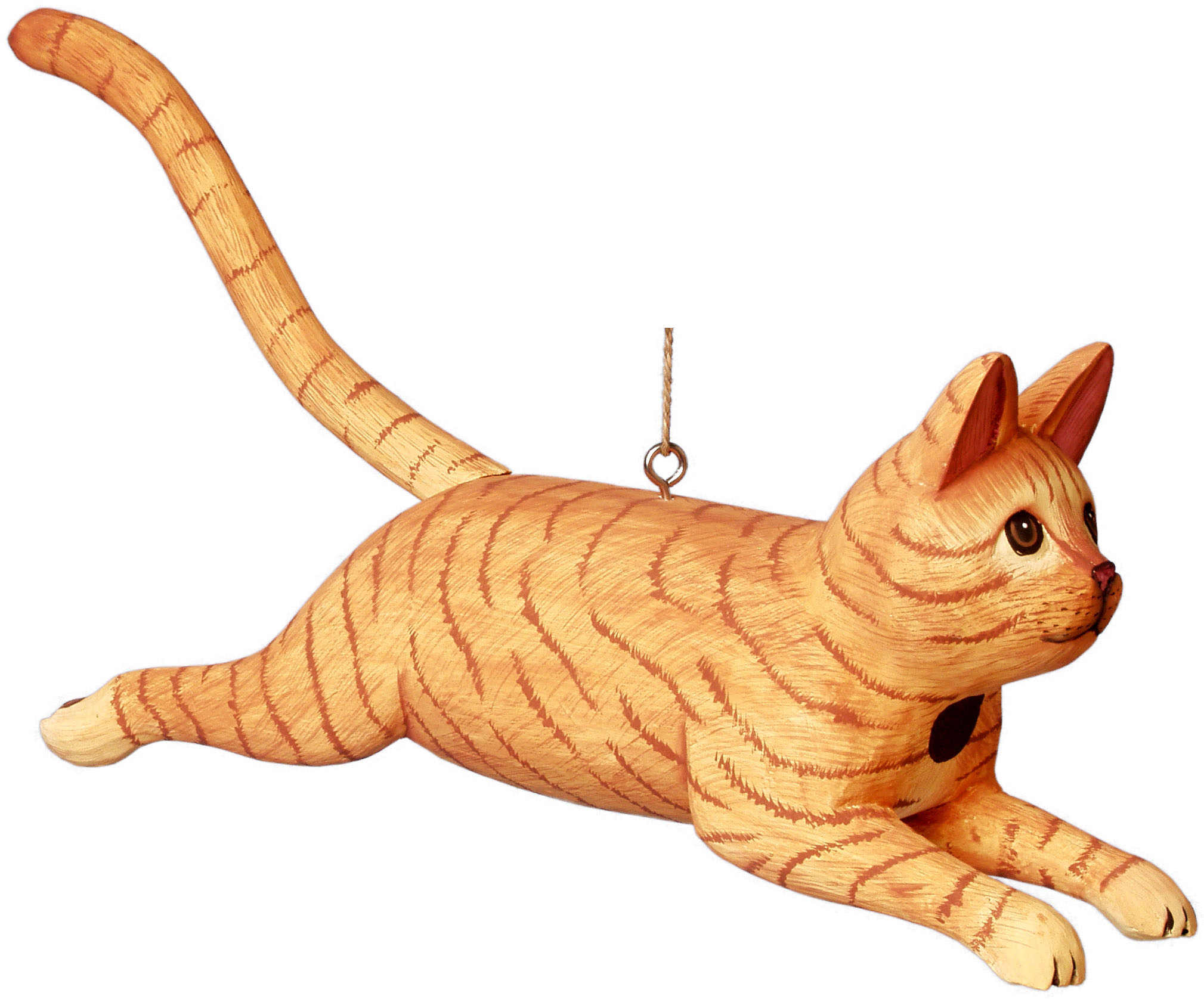 Leaping Orange Tabby Cat Birdhouse