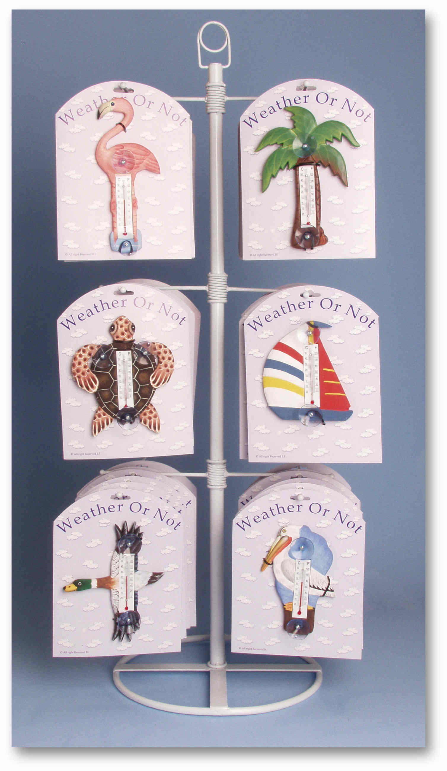 Tabletop Display for Small Window Thermometers or Single Wallhooks, holds 12 styles