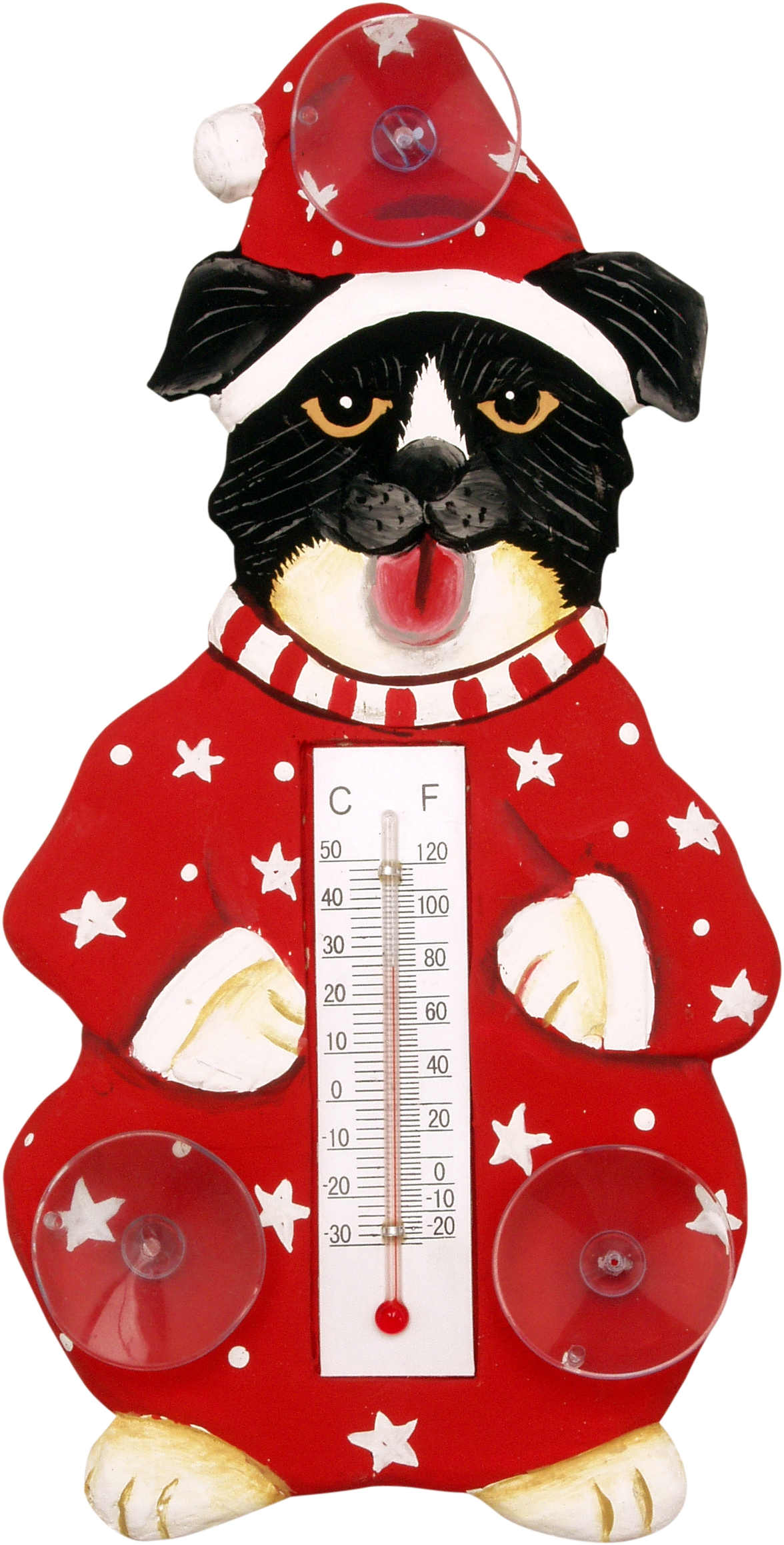 Holiday Dog in Pajamas Small Window Thermometer