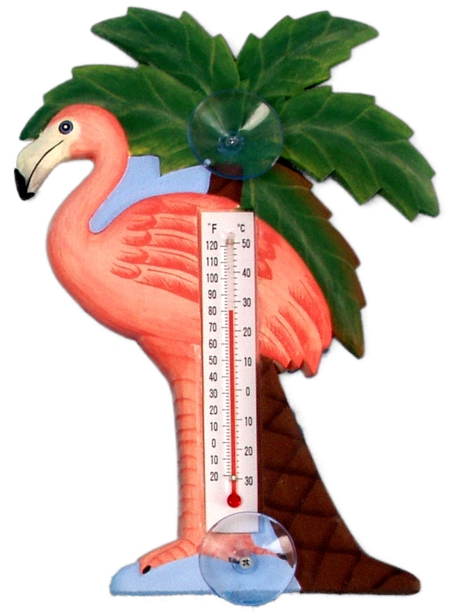 Flamingo and Palm Tree Small Window Thermometer