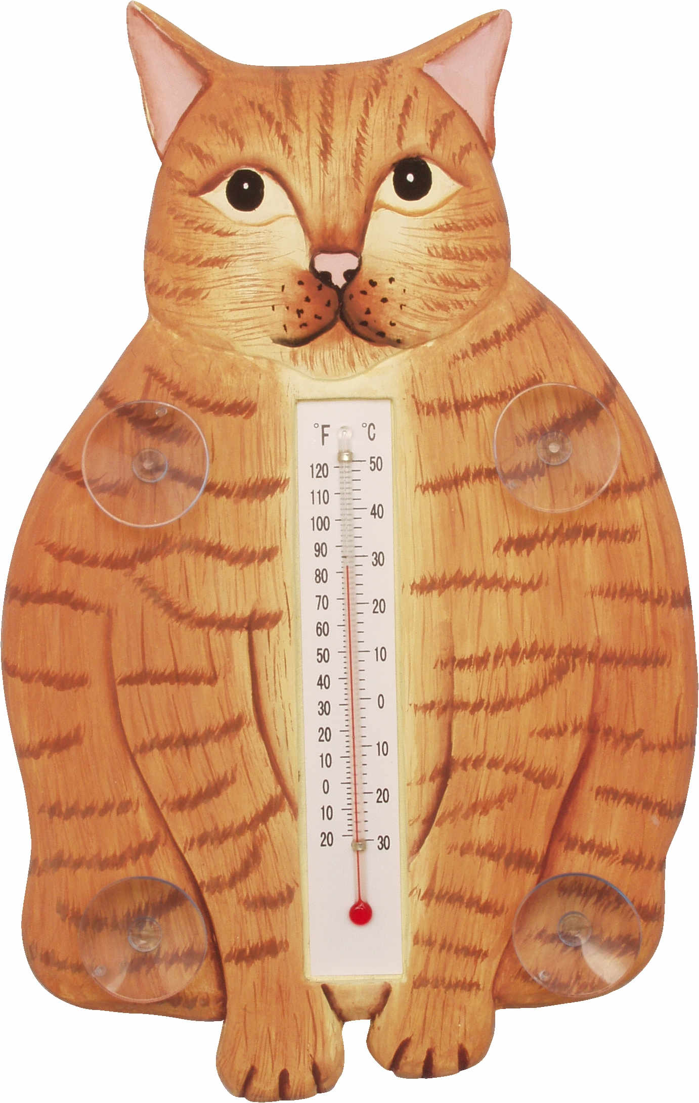 Fat Orange Tabby Cat Small Window Thermometer