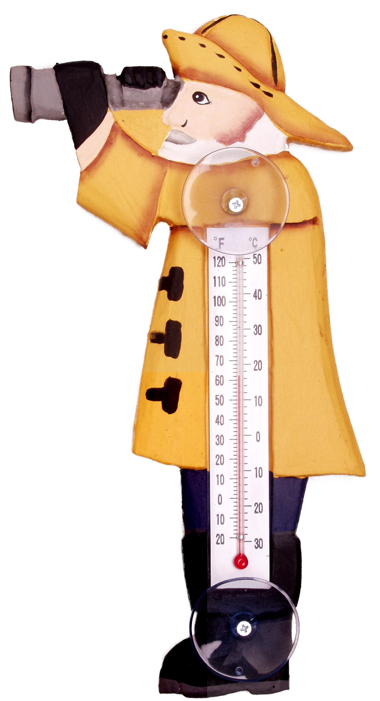 Sailor in Slickers Small Window Thermometer