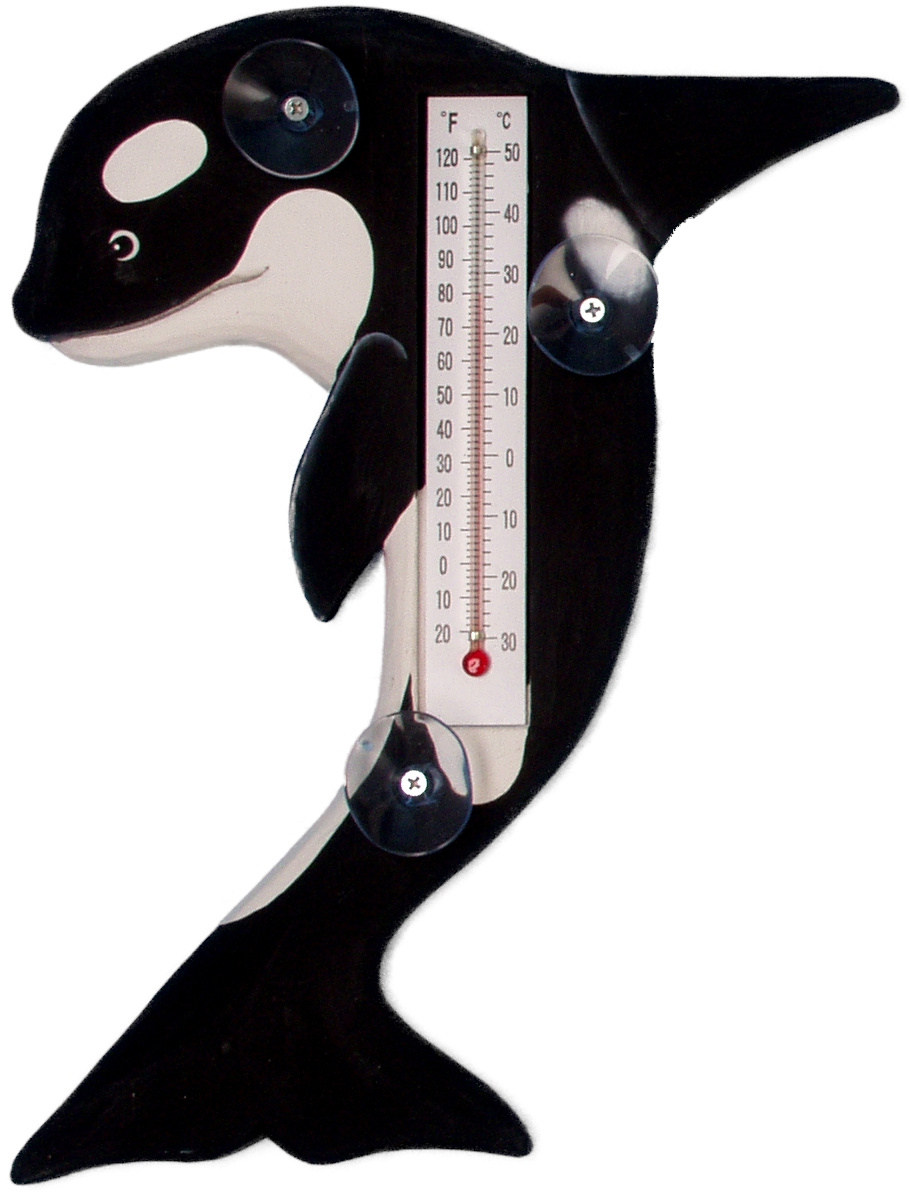 Leaping Orca Whale Small Window Thermometer