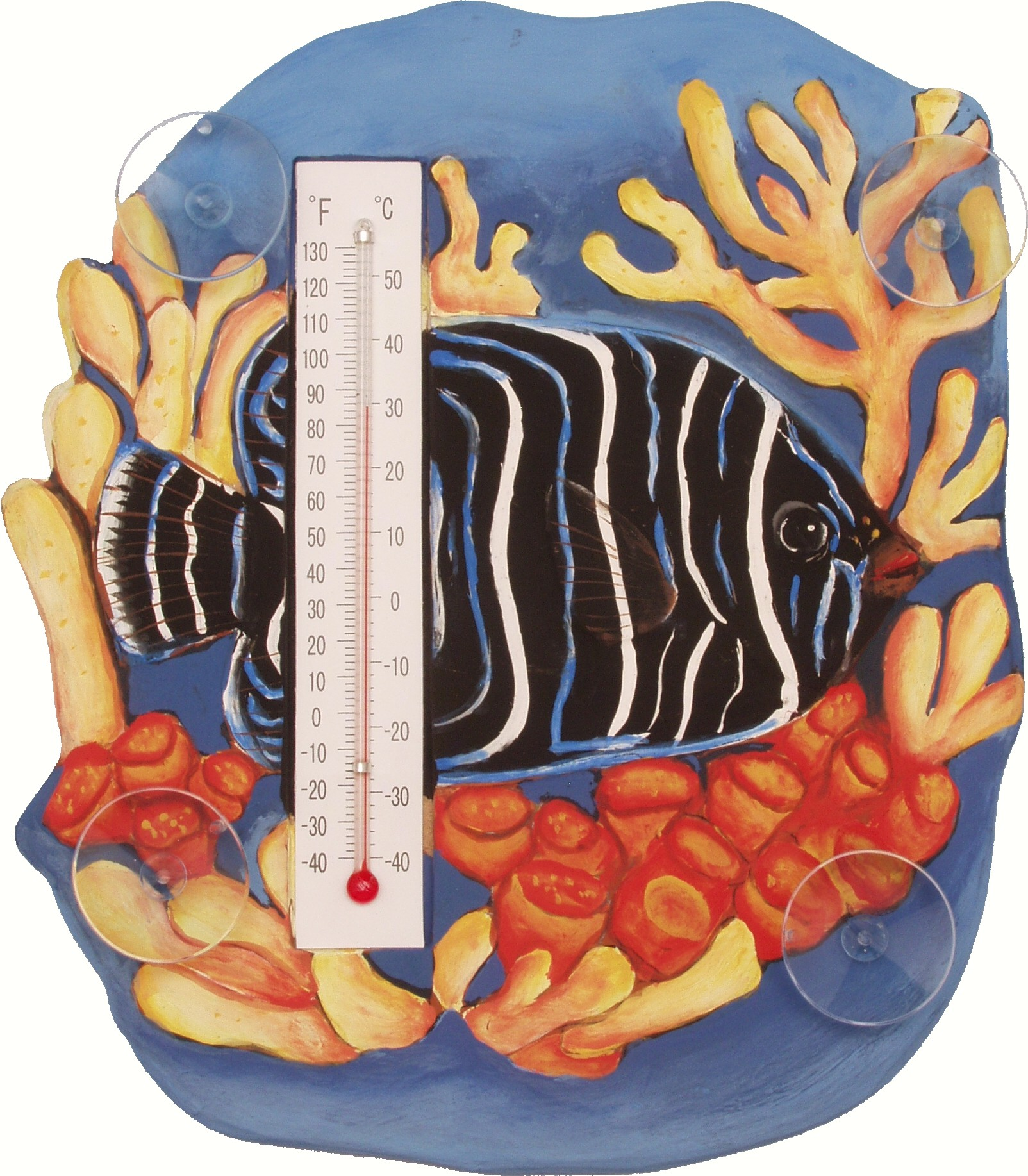 Blue Angelfish in Coral Scene Small Window Thermometer