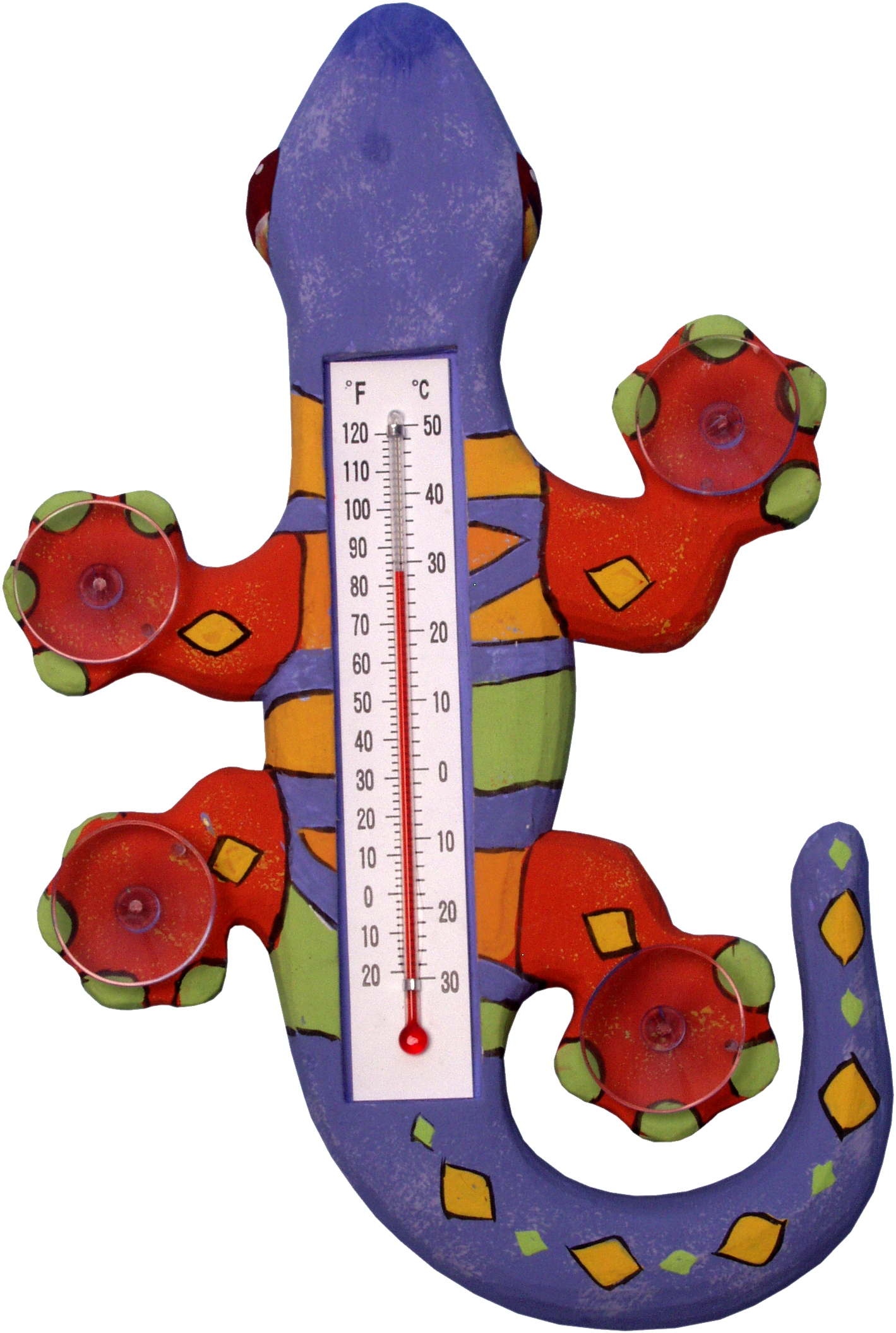 Climbing Multi Color Gecko Small Window Thermometer