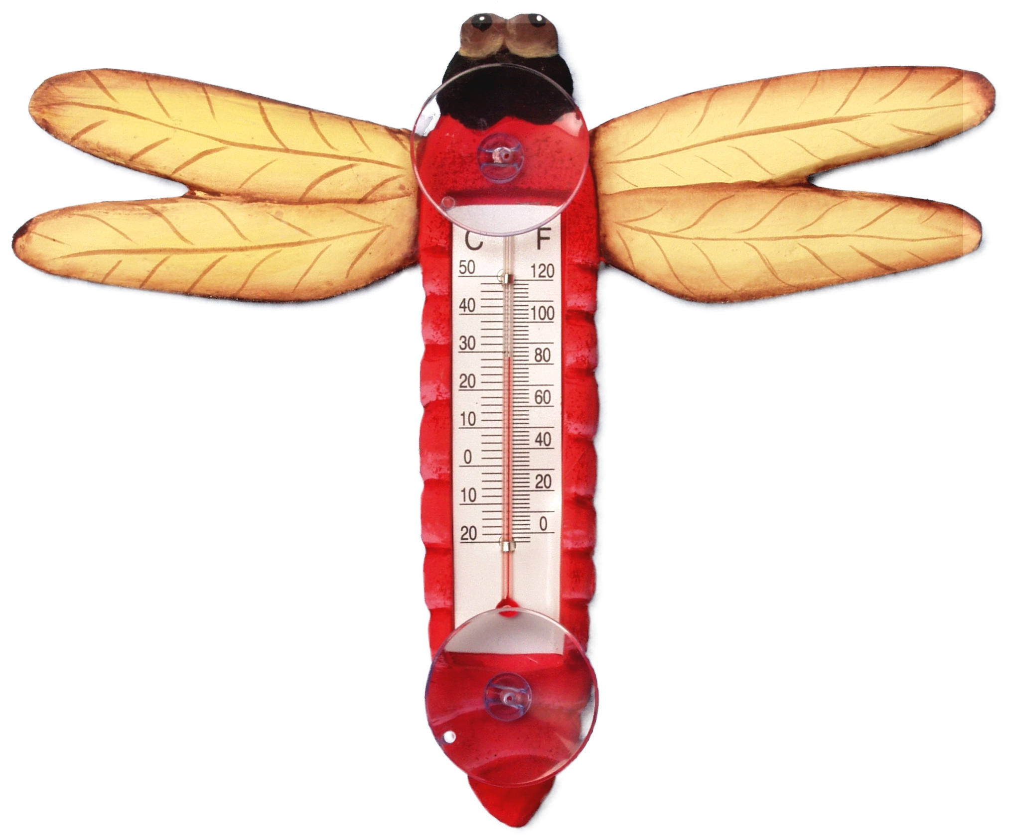 Red Dragonfly Small Window Thermometer