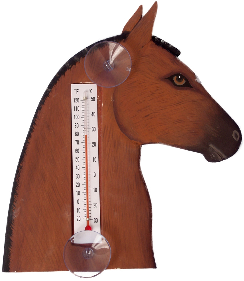 Brown Horse Head Small Window Thermometer