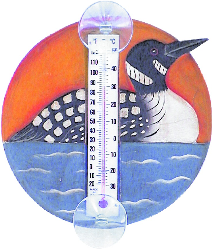 Loon in Lake Scene Small Window Thermometer