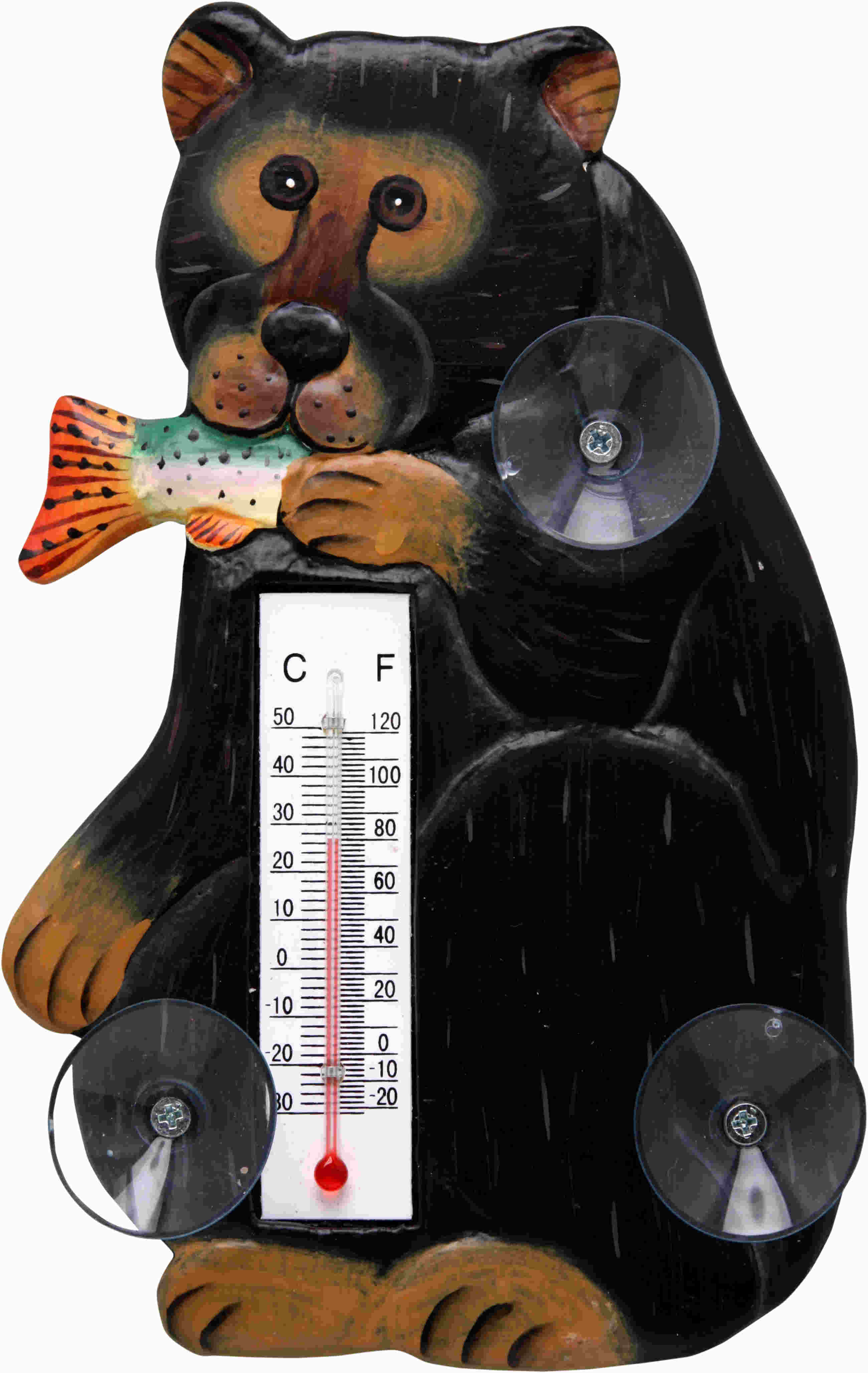 Black Bear with Trout Small Window Thermometer