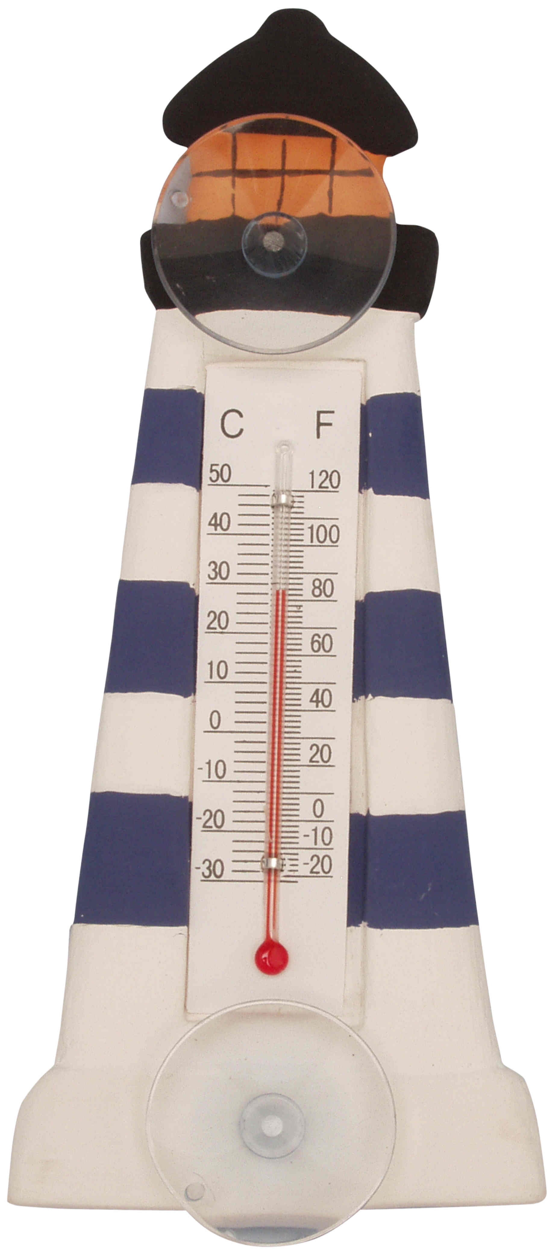Blue & White Striped Lighthouse Striped Small Window Thermometer