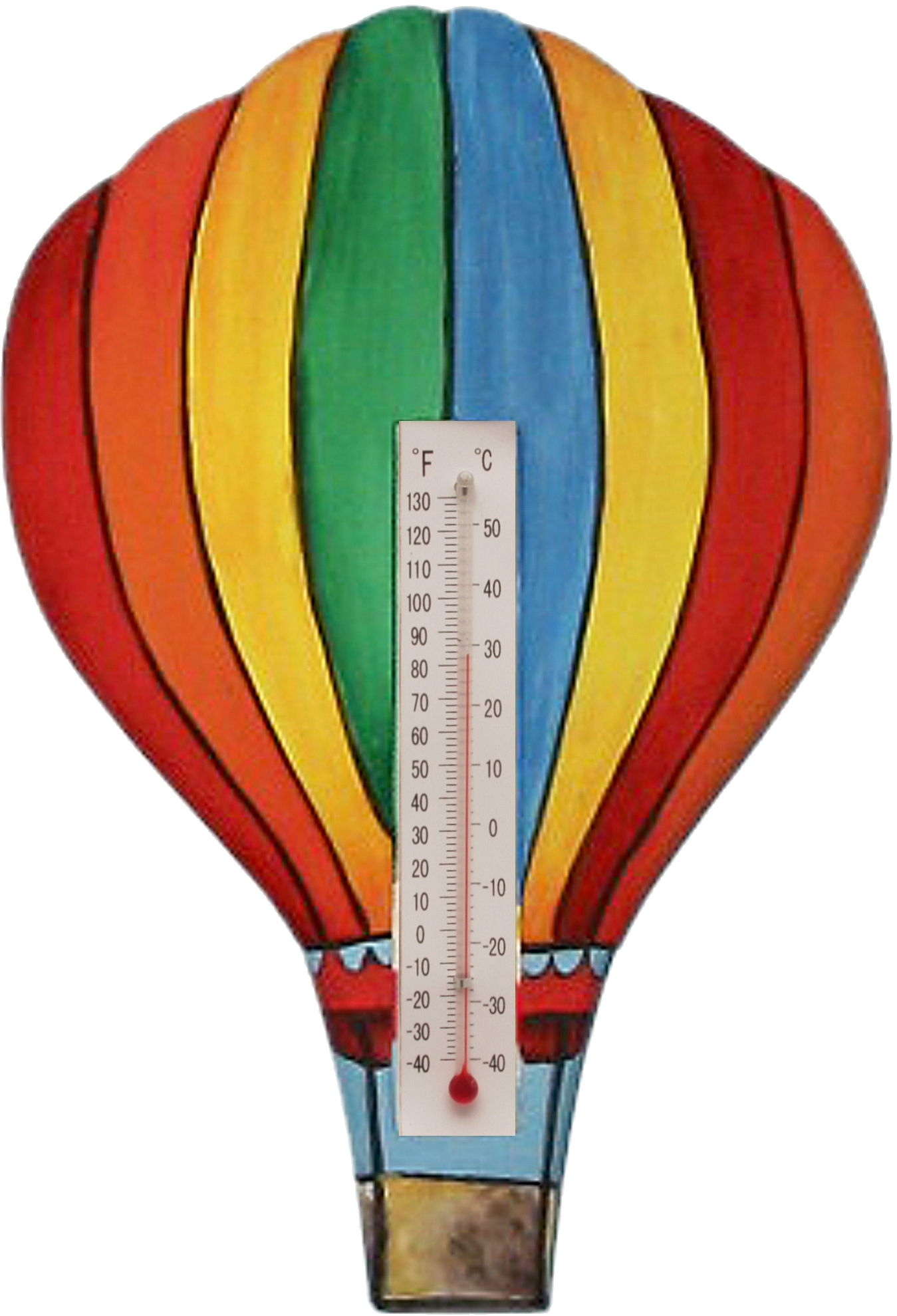 Hot Air Balloon with Vertical Stripes Small Window Thermometer