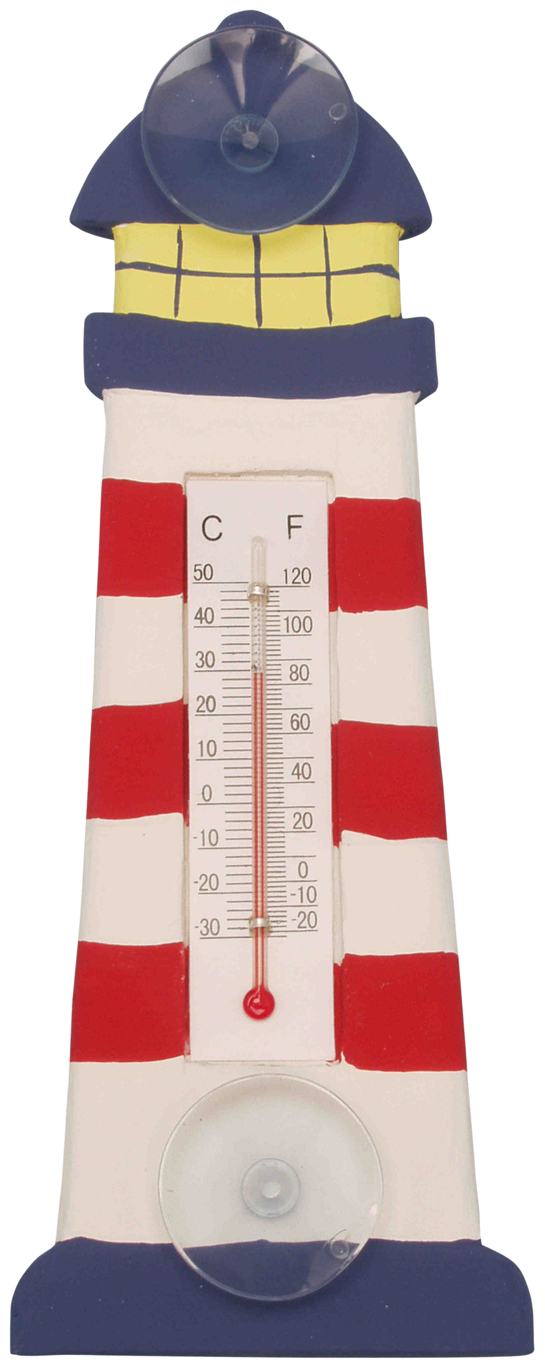 Red & White Striped Lighthouse Small Window Thermometer