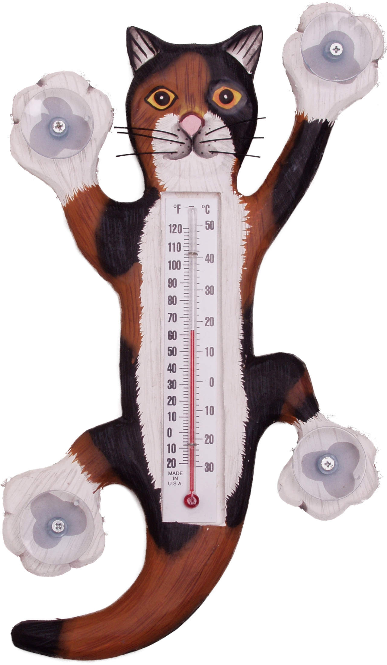 Climbing Calico Cat Large Window Thermometer