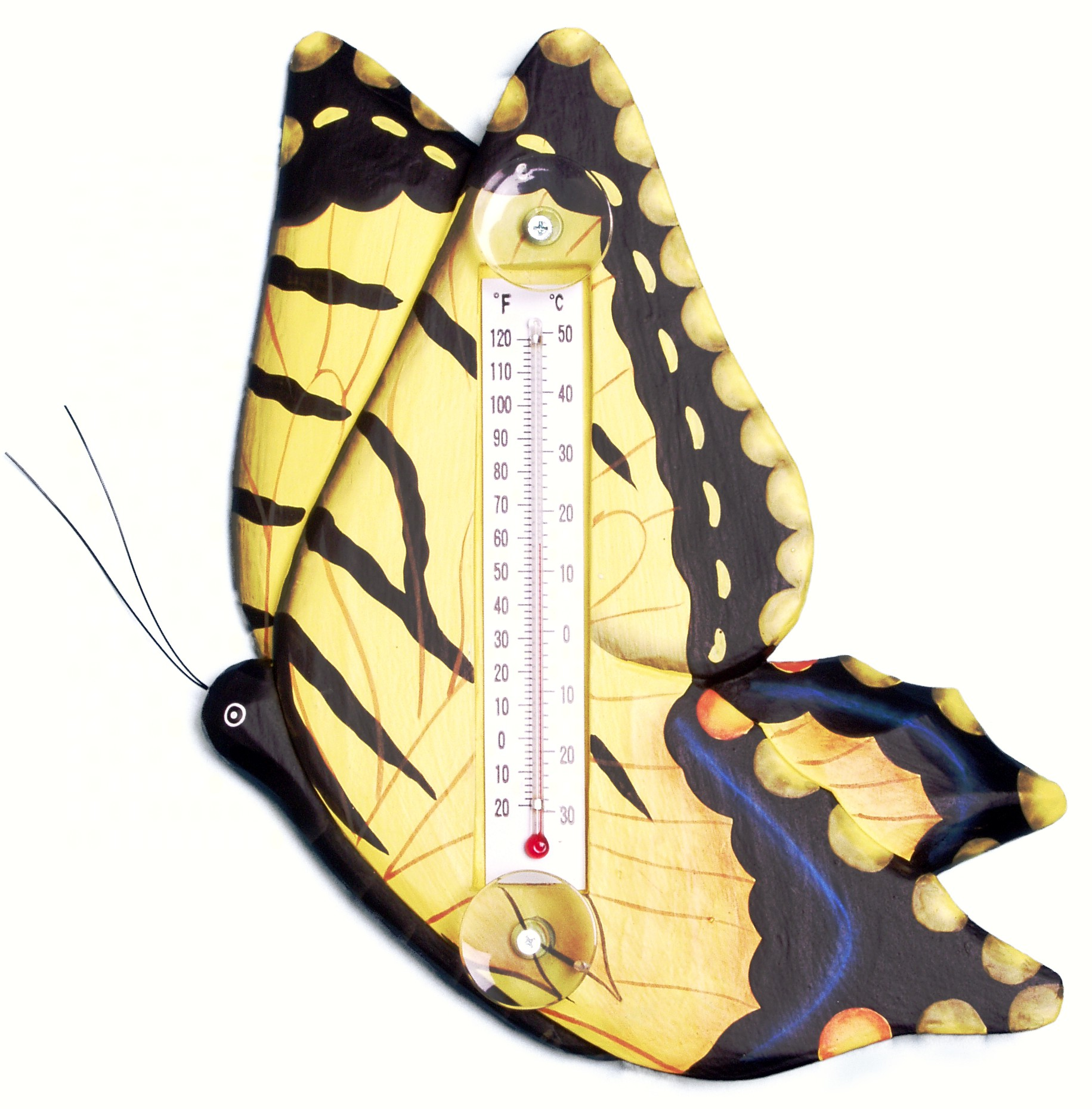 Yellow Swallowtailed Butterfly Large Window Thermometer