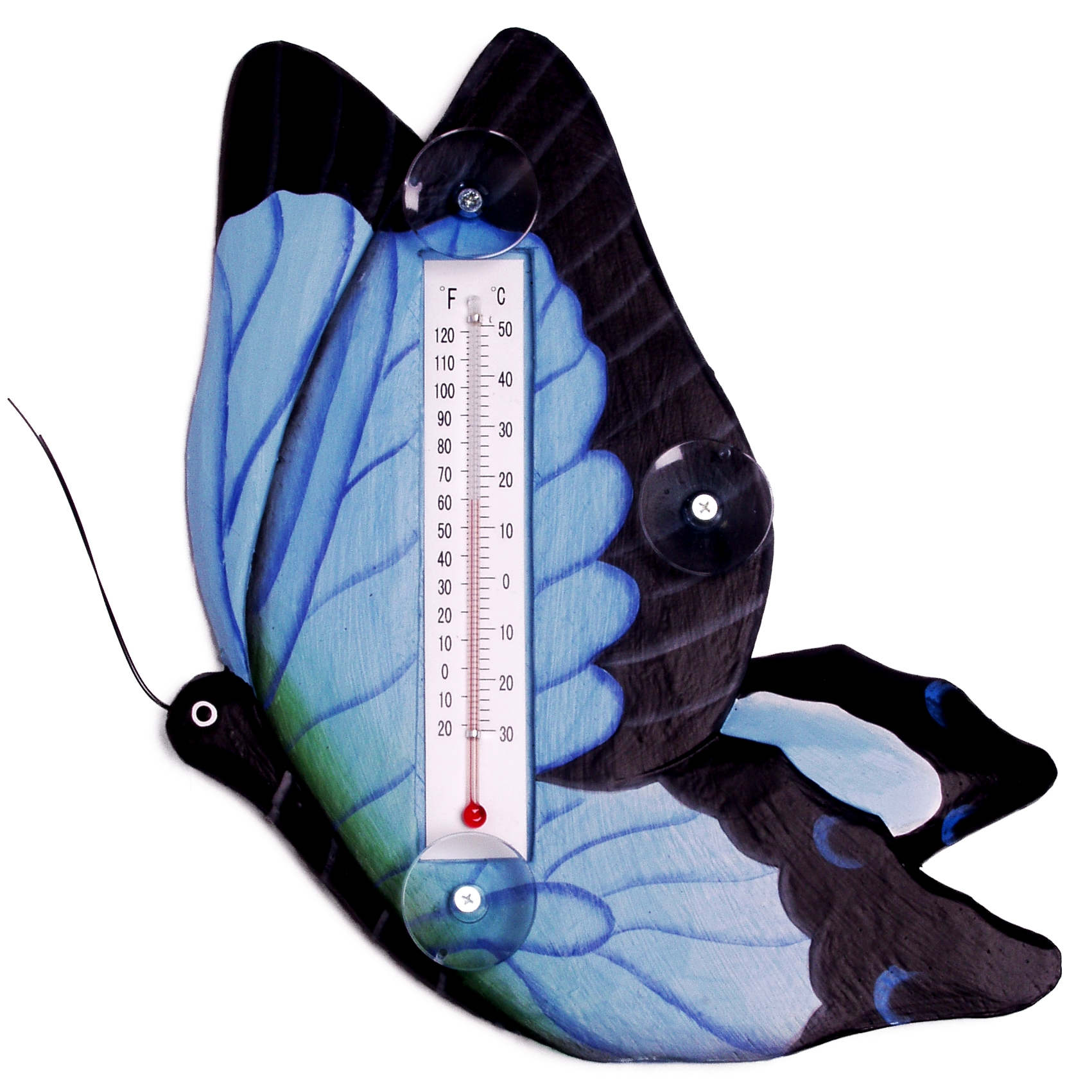Blue Swallowtailed Butterfly Large Window Thermometer