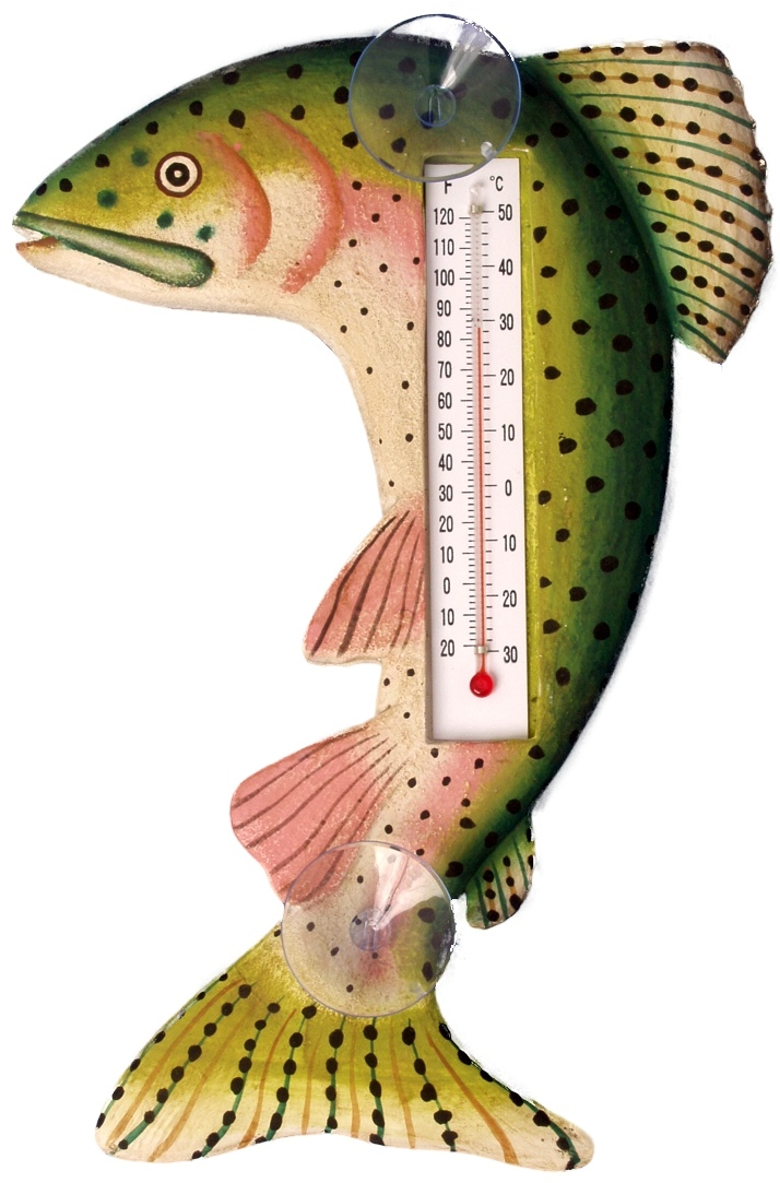 Leaping Trout Large Window Thermometer