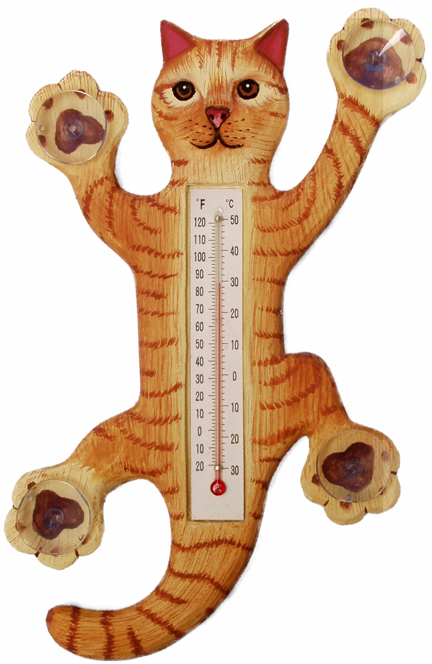 Climbing Orange Tabby Cat Large Window Thermometer