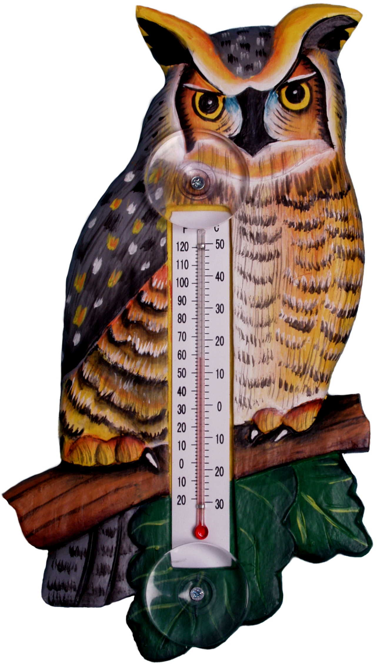 Great Horned Owl Large Window Thermometer
